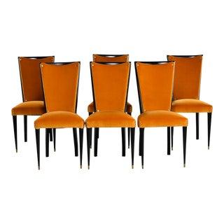 Art Deco Ebonized Chairs With Poppy Gold Velvet Upholstery - Set of 6 For Sale