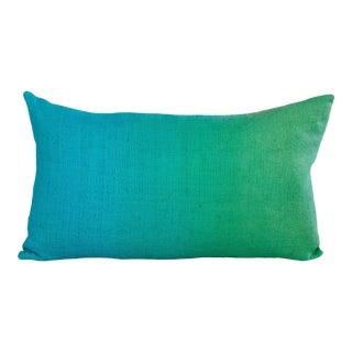 "Hand-Painted Vintage Linen Pillow - Summer Aqua, 12""x20"""