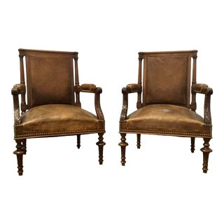 Antique Carved Wood Brown Leather Arm Chairs - a Pair For Sale