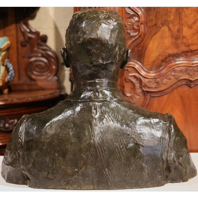 "Large 20th Century French Bronze Bust Signed ""A. Descatoire"", 1913 - Image 7 of 8"