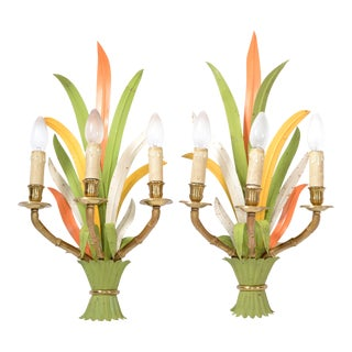 "Maison Baguès Bronze & Enamel ""Feuillage"" 3-Light Wall Sconces France - Pair For Sale"