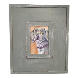 Weimaraner Dog Original Oil Painting Framed For Sale