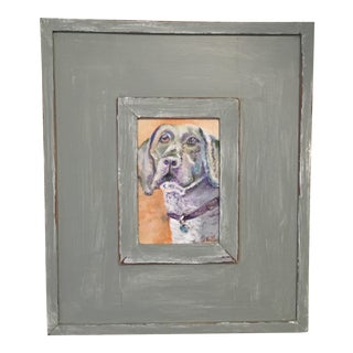 Weimaraner Original Framed Dog Oil Painting For Sale