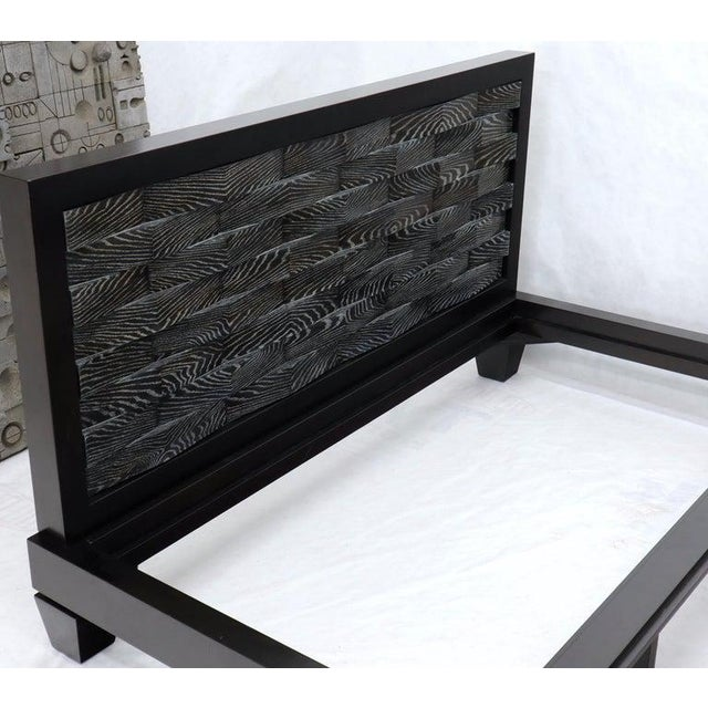 Large Massive King Size Black Lacquer Cerused Oak Bed Headboard For Sale - Image 11 of 13