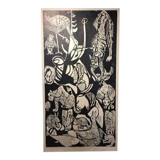 """Clay Walker """"Constant Threat - Dog Eats Cat"""" Woodcut Print"""