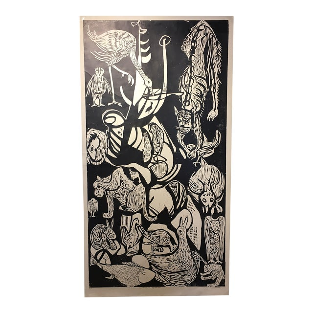 "Clay Walker ""Constant Threat - Dog Eats Cat"" Woodcut Print - Image 1 of 4"