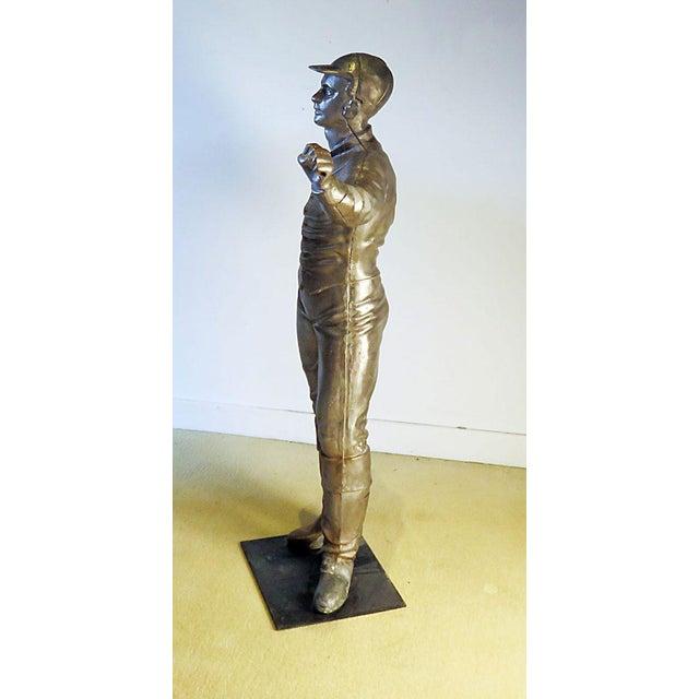 Vintage Brushed Steel Jockey Figurine For Sale - Image 4 of 7