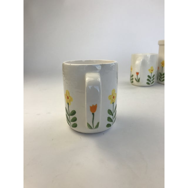 White 1960's Japanese Coffee Cups and Canister - Set of 5 For Sale In Los Angeles - Image 6 of 11