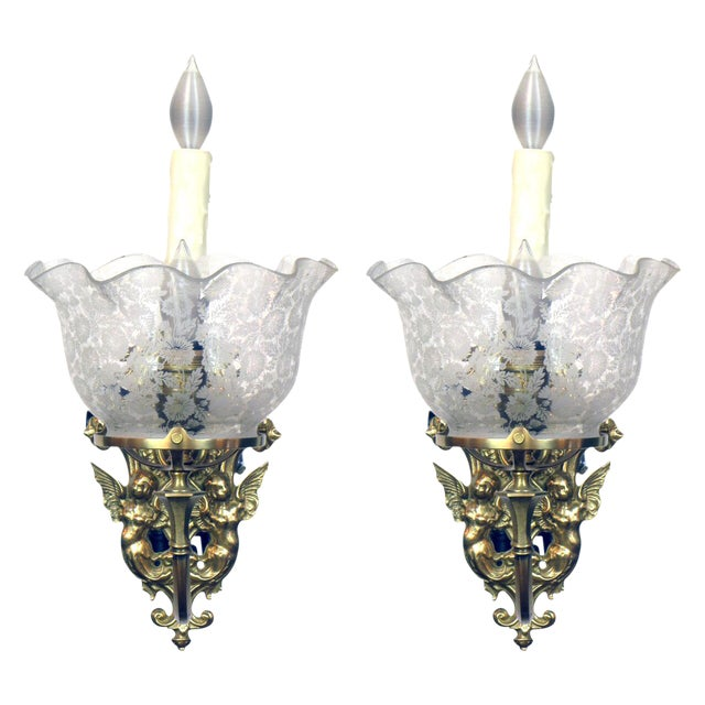 Pair of Gas and Electric Sconces For Sale In Boston - Image 6 of 6