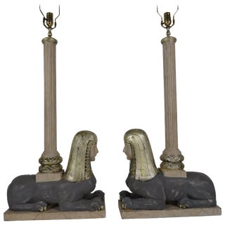 1930s Italian Wood Sphinx Lamps in the Manner of Bugatti - a Pair For Sale