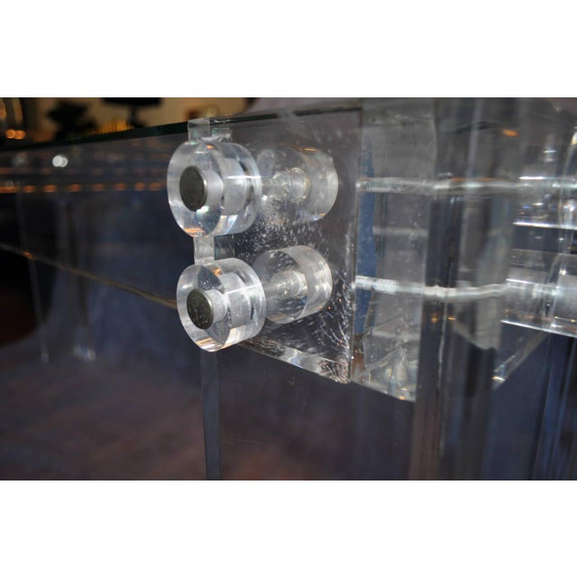 1970s Charles Hollis Jones Style Mid Century Modern Lucite and Glass Console Table For Sale - Image 5 of 6