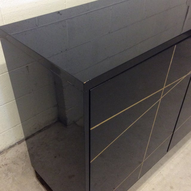 Gold Modern History Black Lacquer and Brass Abstract Credenza For Sale - Image 8 of 12