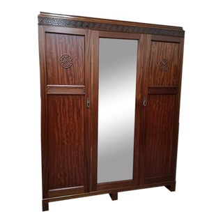 Mahogany Mirror Door Side by Side Armoire c.1920