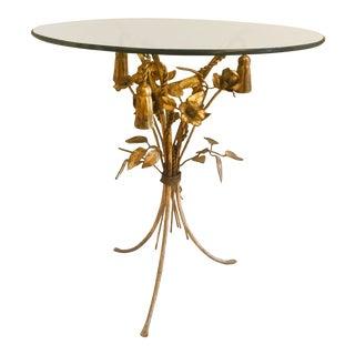 Hollywood Regency Hans Kogl Gilded Tole Tassels & Roses Side Table For Sale