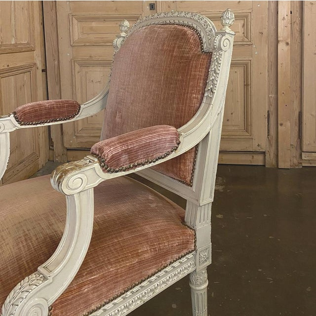 Pair 19th Century French Louis XVI Painted Armchairs ~ Fauteuils For Sale - Image 11 of 13