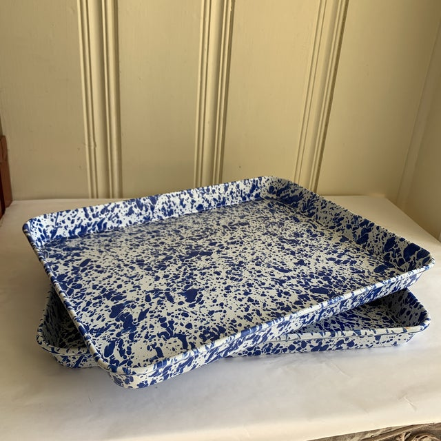 White Splatterware Enamel Metal Trays -Set of Two For Sale - Image 8 of 10