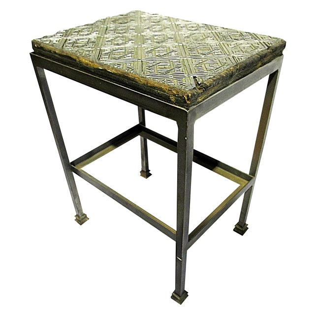 Antique Wallpaper-Print Steel End Table For Sale