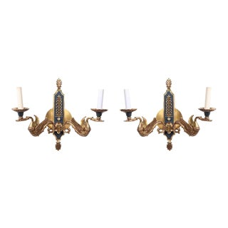 Neoclassical Style Brass Wall Sconces With Swan Motif - a Pair For Sale