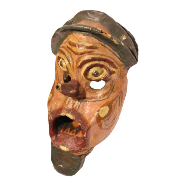 Early 20th C. Vintage Paper Mâché Carnival Head Mask For Sale