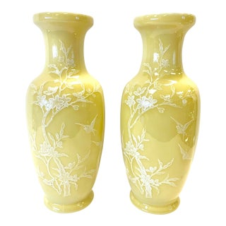 20th Century Chinese Yellow Vases - a Pair For Sale