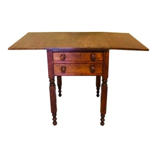 English Traditional Drop Leaf Maple Side Table For Sale
