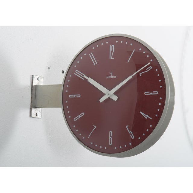Red Siemens Halske Double Faced Train Station, Wokshop, Factory Clock For Sale - Image 8 of 10