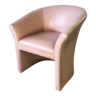 Mid-Century Millennial Pink Leather Barrel Chair