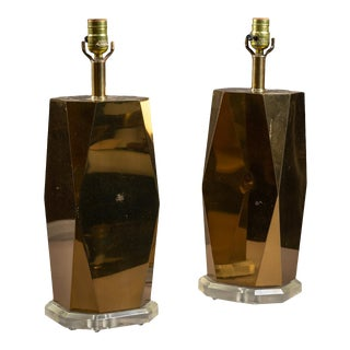 Glam Brass and Lucite Table Lamps -- a Pair For Sale