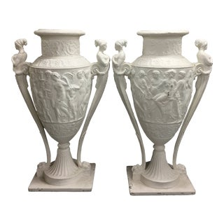 Large Vintage Decorative White Urns - a Pair For Sale