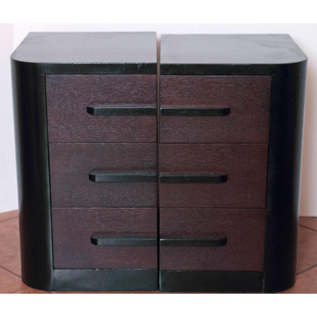 Streamline Pair of Modernage Art Deco Bookend Matched Ebonized Nightstands For Sale - Image 10 of 11