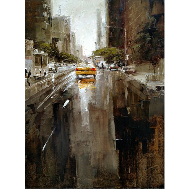 """Wood Beckham Oil Painting """"23rd Street, Yellow Taxi"""", Contemporary Cityscape For Sale - Image 7 of 7"""