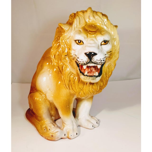 Vintage Lion Italian Terra Cotta Italy Statue Figure. A fantastic and very large Italian Lion. The Lion was made in Italy...