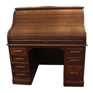 20th Century Traditional Oak Wooden Roll Top Desk For Sale