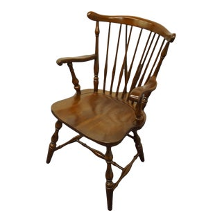 Pennsylvania House Solid Cherry Fiddleback Duxbury Windsor Arm Chair For Sale