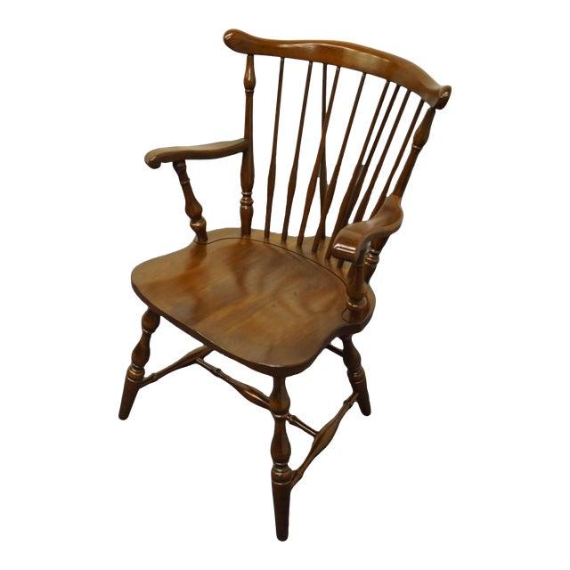 Pennsylvania House Solid Cherry Fiddleback Duxbury Windsor Arm Chair For Sale