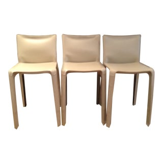 Modern Mario Bellini for Cassina Beige Leather Dining Chairs - Set of 3