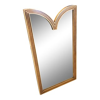"Baker Furniture, Faux Bamboo Mirror W/ Deep ""V"" Cut Top For Sale"
