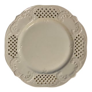 Vintage White Pierced Reticulated Plate For Sale