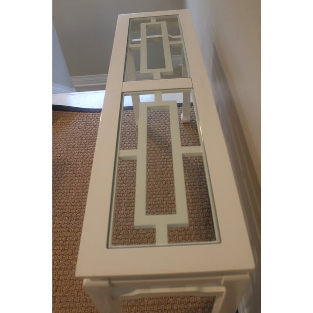 Mid 20th Century Vintage White Ming Fret Work Console For Sale - Image 4 of 9