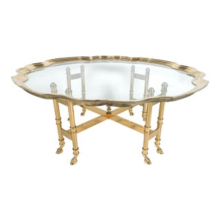 La Barge Brass Hoofed Coffee Table With Scalloped Edge Top For Sale