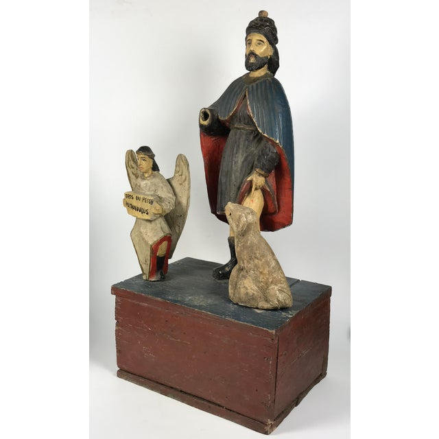 19th C. Carved Saint Roch Sculpture For Sale - Image 5 of 6