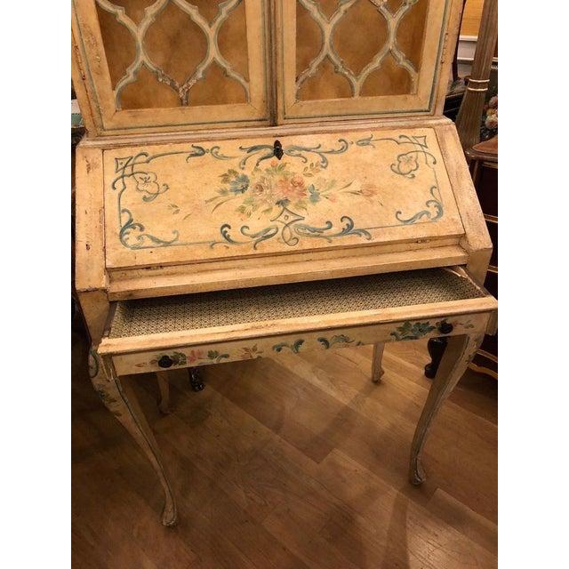 Italian Antique Italian Paint Decorated Secretary Desk For Sale - Image 3 of 9