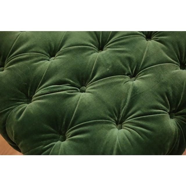 Modern Large Tufted Green Velvet Ottoman For Sale - Image 3 of 7
