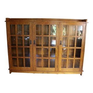 Mission Style Stickley Triple Bookcase With Glass Doors