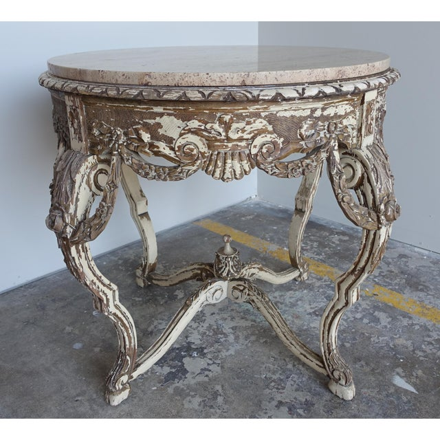 French Carved & Painted Stone Top Table - Image 3 of 10