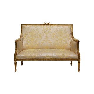 Gilt Carved Louis XVI Settee For Sale
