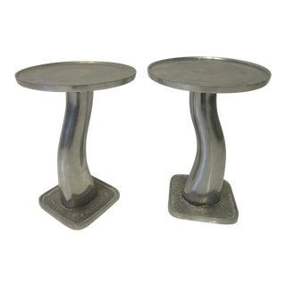 Sculptural Cast Aluminum Side Tables - a Pair For Sale
