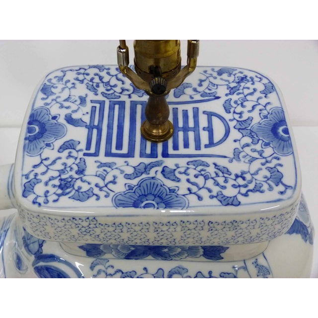 Chinese Blue & White Elephant Table Lamps - A Pair - Image 4 of 10