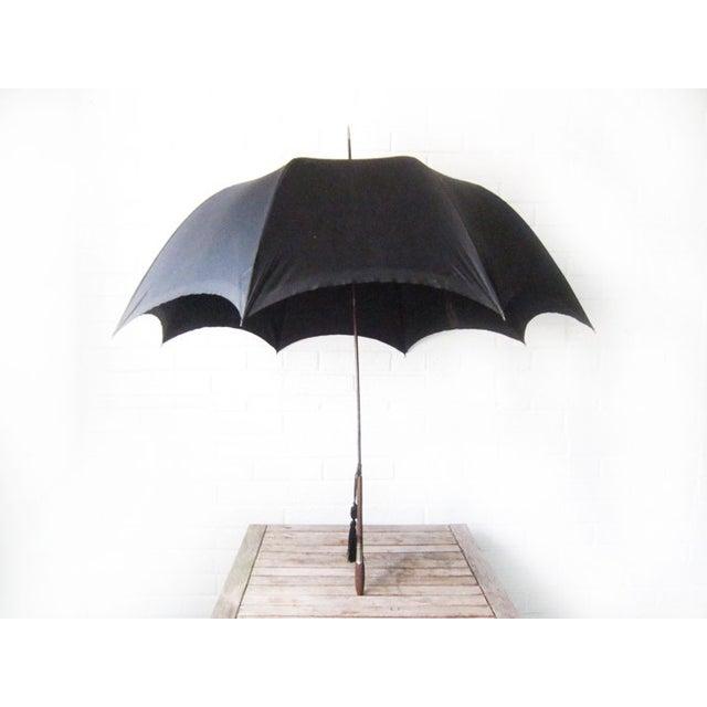 Antique Edwardian Mens Silk Parasol Black Umbrella - Image 2 of 6