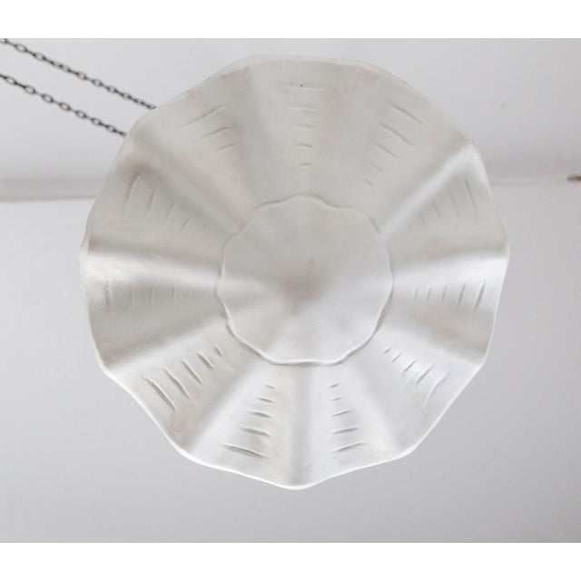 Contemporary Circular Undulating Ribbed Plaster Shell Pendant For Sale - Image 3 of 7